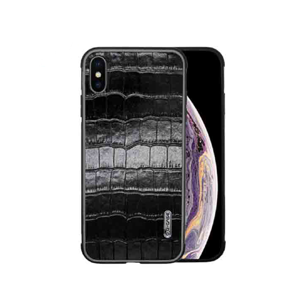 Кожаная накладка G-Case Monte Carlo Series Sheep Skin iPhone X/XS рептилия черный